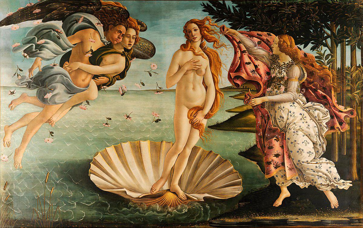 Kendt maleri af Boticelli, Venus' fødsel, natur