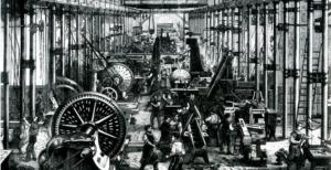 Maskinfabrik i Chemnitz, gammelt billede af industri