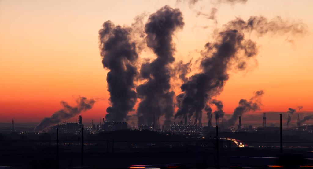 Forurening og kemisk udledning, solopgang, miljø, CO2-udledning,