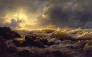 Andreas Achenbach, kyst i Sicilien, bølger