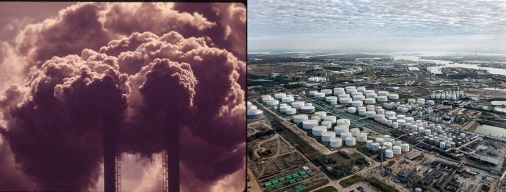 Voldsomme kemiske udledninger og forurening, kemisk lager for fossile brændstoffer i Houston, Texas, USA