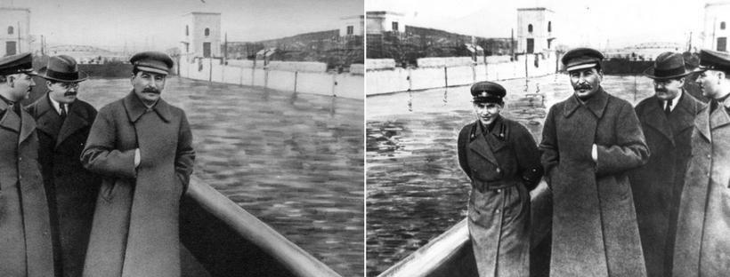 Voroshilov, Molotov og Stalin med og uden Nikolai Yezhov